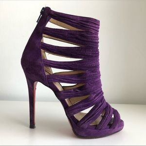 CHRISTIAN LOUBOUTIN CAGED GLADIATOR SUEDE BOOTIES